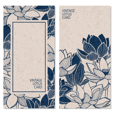 set with two vector blue vintage cards with hand drawn lotus flowers and place for text