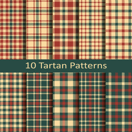 Set of ten seamless vector tartan square scottish patterns