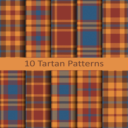 Set of ten seamless vector scottish tartan colorful patterns