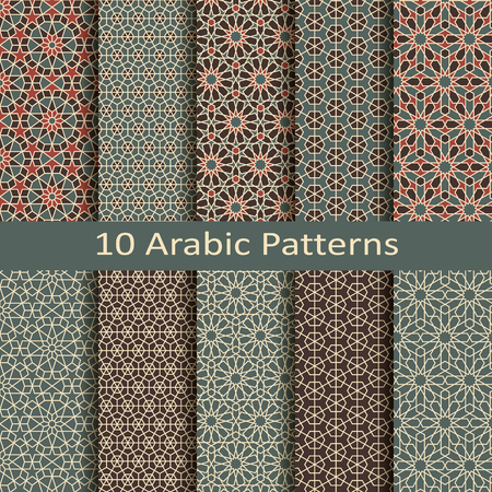 set of ten seamless vector arabic traditional geometric patterns