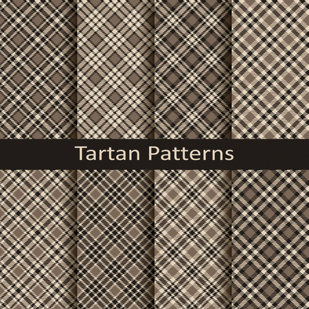 Set of ten gingham and tartan seamless vector monochrome patterns. Design for clothing, packaging, covers