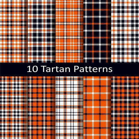 Set of ten seamless vector tartan square patterns with halloween coloring Illustration