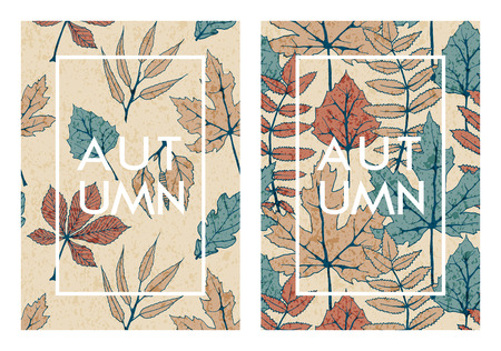 vector set with two autumn cards with hand drawn colorful tree leaves. template design for cards, covers, packaging