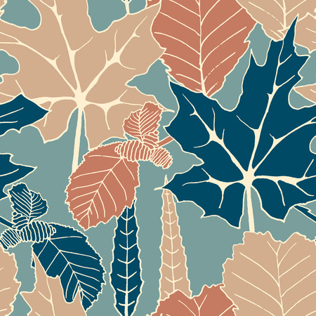 alder: seamless vector colorful autumn pattern with hand drawn tree leaves. autumn design for covers, packaging, printing