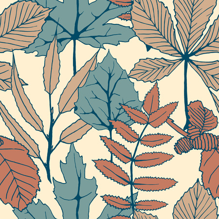 seamless vector colorful autumn pattern with hand drawn tree leaves. autumn design for covers, packaging, printing