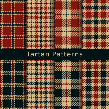 set of ten vector trendy scottish square tartan patterns. design for wrapping, packaging, covers, cloths, christmas Illustration