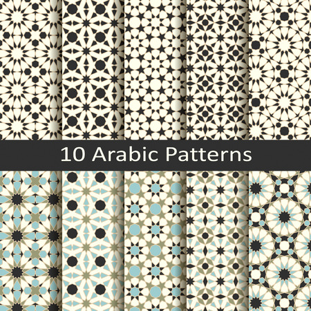 set of ten seamless vector arabic traditional mosaic geometric patterns. Ilustrace