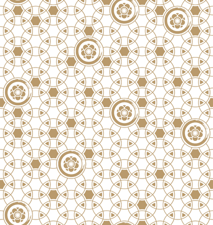 seamless vector japanese traditional geometric pale pattern design with flower symbols.design for textile, packaging, covers Иллюстрация