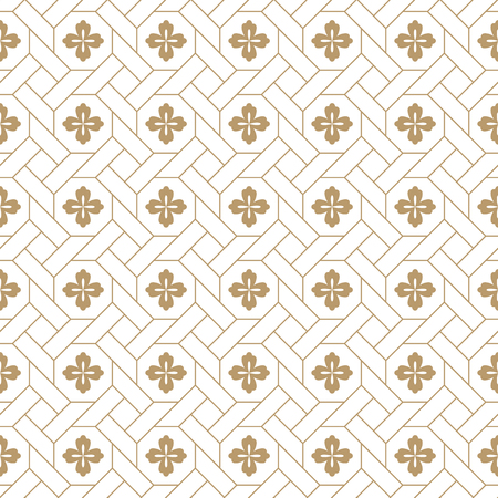 seamless vector japanese traditional geometric pale pattern design with flower symbols.design for textile, packaging, covers Ilustrace