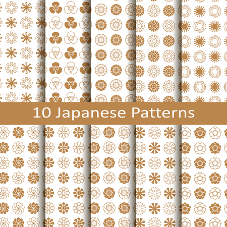 set of ten golden japanese circles seamless vector pattern with flower design. design for packaging, covers, textile 向量圖像