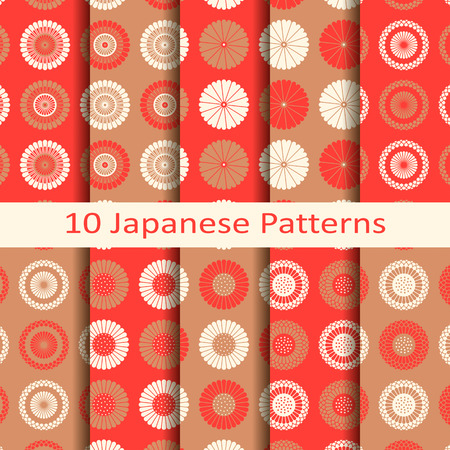 Set of ten red japanese circle seamless vector pattern with flower design. design for packaging, covers, textile