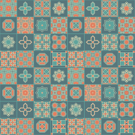 Seamless vector japanese geometric colorful tile pattern design. Design for covers, tiles, packaging, textile 向量圖像