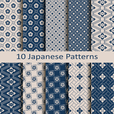 Set with eight seamless vector blue Japanese floral geometric patterns design for textile, packaging, covers.