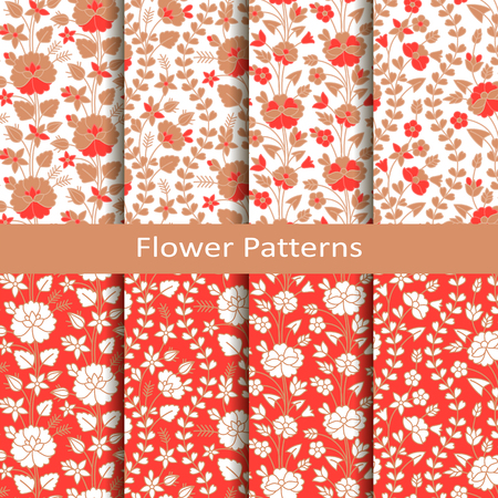 set of eight seamless patterns. design or packaging, fashion, textile, covers Ilustrace