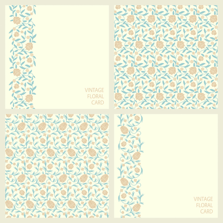 Set with two seamless vector patterns and two seamless border cards with vintage print arabesque floral design Illusztráció