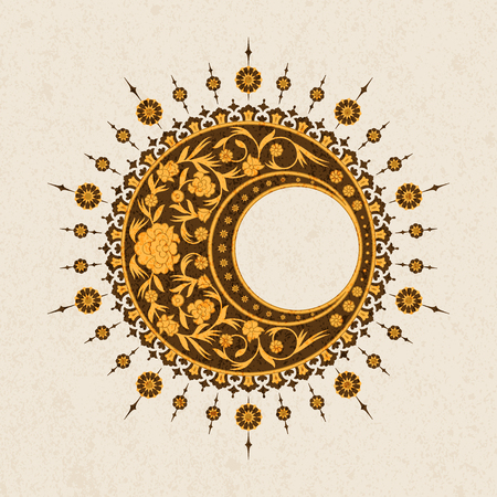 vector round traditional arabesque design with floral design. design for print, interior, tile