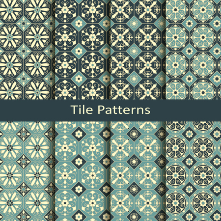 set of ten seamless vintage elegant tile pattern with floral ornamentation. design for interior, packaging, textile
