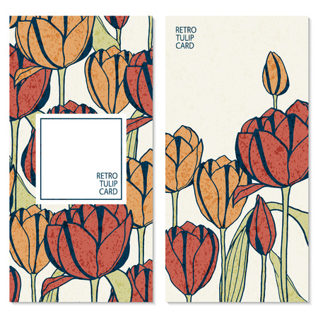 set with two retro cards with hand drawn tulip flowers and space for your text Vektorové ilustrace