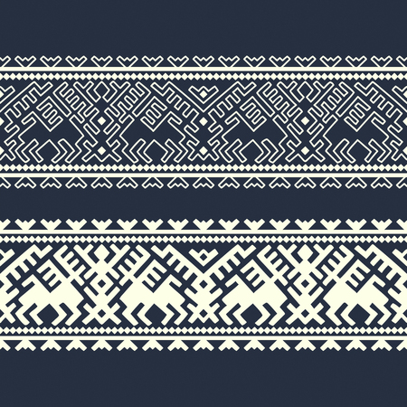 vector ethnic winter geometric ornamented border template. design for woodblock, packaging, print