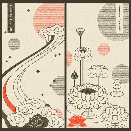 pastel japanese card set design with clouds and water lilies