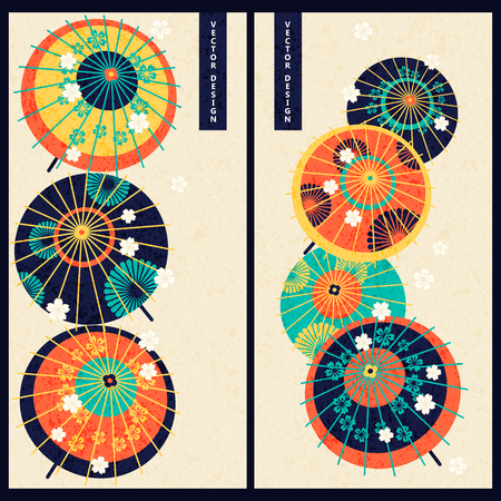 japanese traditional umbrellas. design for gift, print, business, card Ilustrace