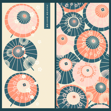 Japanese umbrellas. design for print, wrapping, gift, business Ilustrace