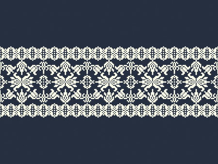 seamless vector vintage ornamental ribbon border design. seamless pattern in the swatch panel Çizim