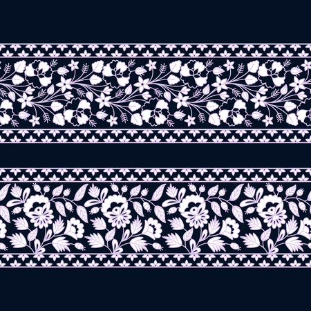 vintage white floral seamless border design. seamless template in swatch panel. design for packaging, decor, print