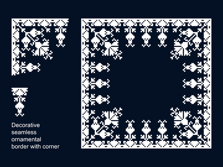 decorative seamless vector border with corners. seamless template in swatch panel. floral geometric ornament