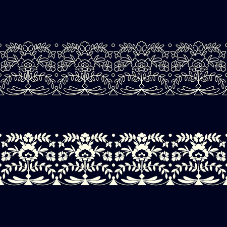 set of two seamless vector borders with floral ornamentation. seamless template in swatch panel. design for print, wrapping, interior Ilustracja