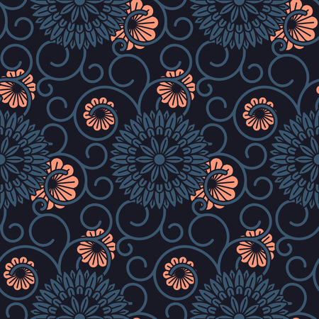 seamless vector dark pattern with ornamented circles and flourish. seamless pattern in swatch panel