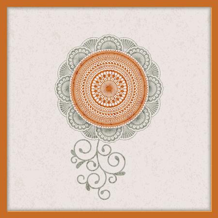 vintage indian mandala design with grunge texture. design for backgrounds, cards, packaging