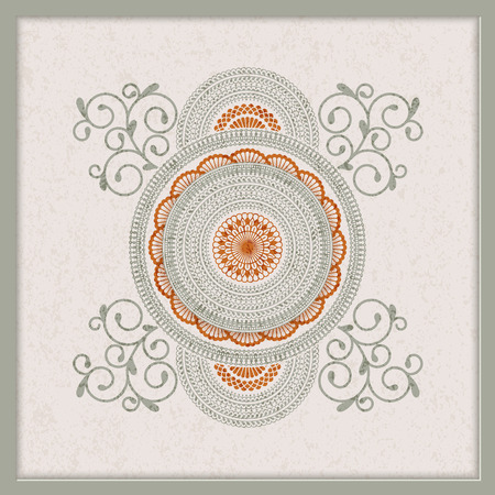 vintage indian mandala design with grunge texture. design for backgrounds, cards, packaging