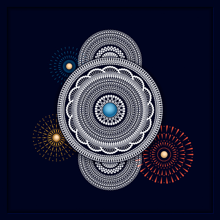 traditional mandala design on dark background. template for backgrounds, gift cards, packaging Illusztráció