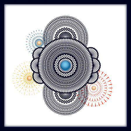 traditional indian colorful mandala background with fireworks. design for card, gift card, packaging, print