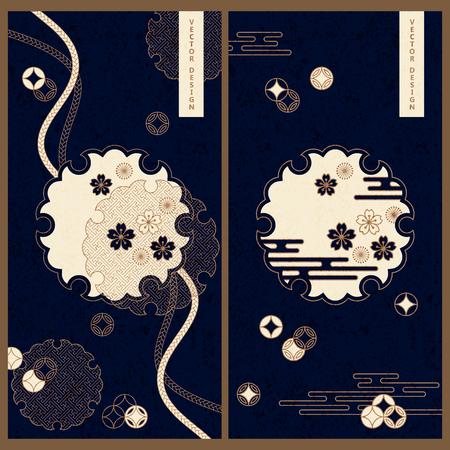 japanese card templates Illusztráció