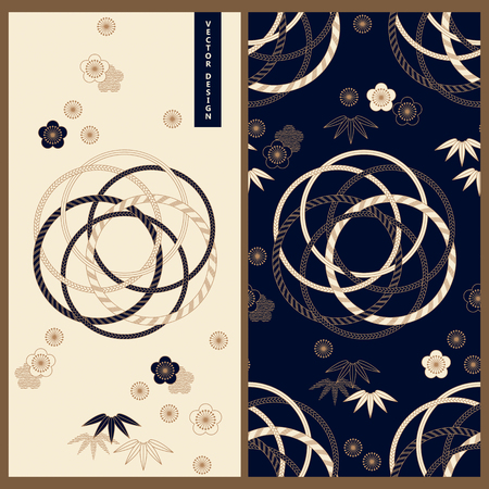 set with vector japanese card template and pattern design