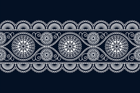 seamless vector white ethnic ornamented border design with flowers. seamless pattern in swatch panel