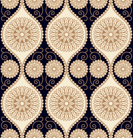 floral ornament on a dark blue background. seamless pattern in swatch panel