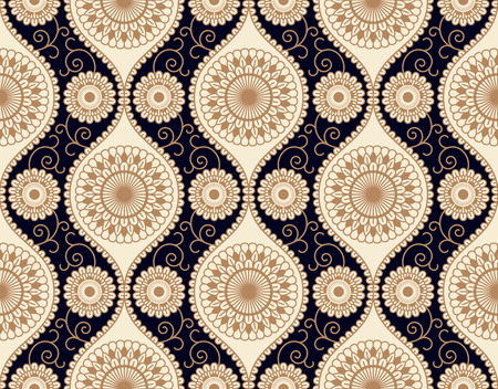 floral ornament on a dark blue background. seamless pattern in swatch panel Illusztráció
