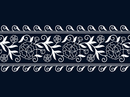 seamless vector white vintage floral border. seamless pattern in swatch panel