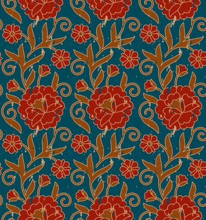 seamless vector vintage royal floral colorful pattern. seamless pattern in swatch panel Illusztráció