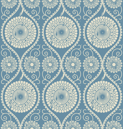 seamless vector floral blue mandala vintage pattern. seamless pattern in swatch panel