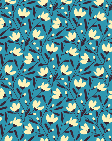 seamless vector flower blue summer pattern design. seamless pattern in swatch panel