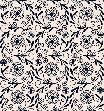 seamless vecor vintage circle arabic floral pattern. design for woodblock, packaging, print. seamless pattern in swatch panel Illusztráció