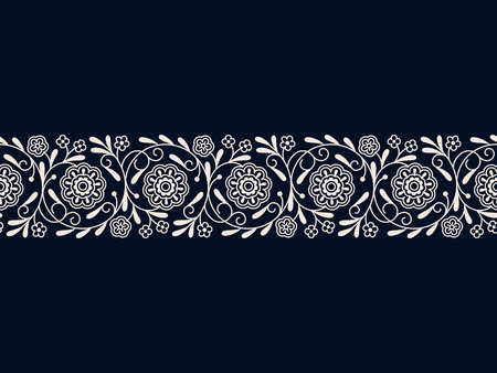 seamless vector white vintage arabic border. seamless pattern in swatch panel