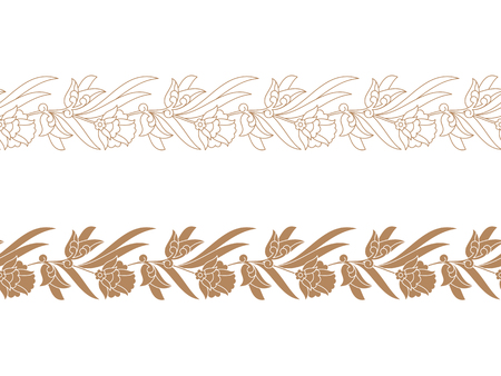 two seamless vector vintage floral borders. seamless template in swatch panel. design for print, woodblock, cards