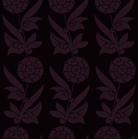 seamless vector royal dark violet pattern with flowers. seamless template in swatch panel. design for print, woodblock, textile