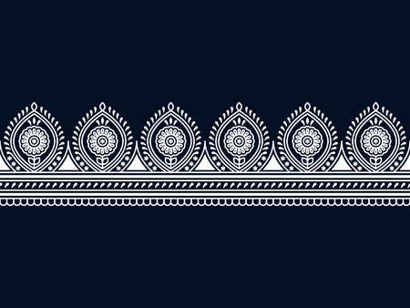 seamless vector indian traditional white border. seamless template in swatch panel. design for print, frame, woodblock