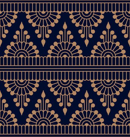 seamless vector traditonal indian symmetric pattern. seamless template in swatch panel. design for textile, print, woodblock